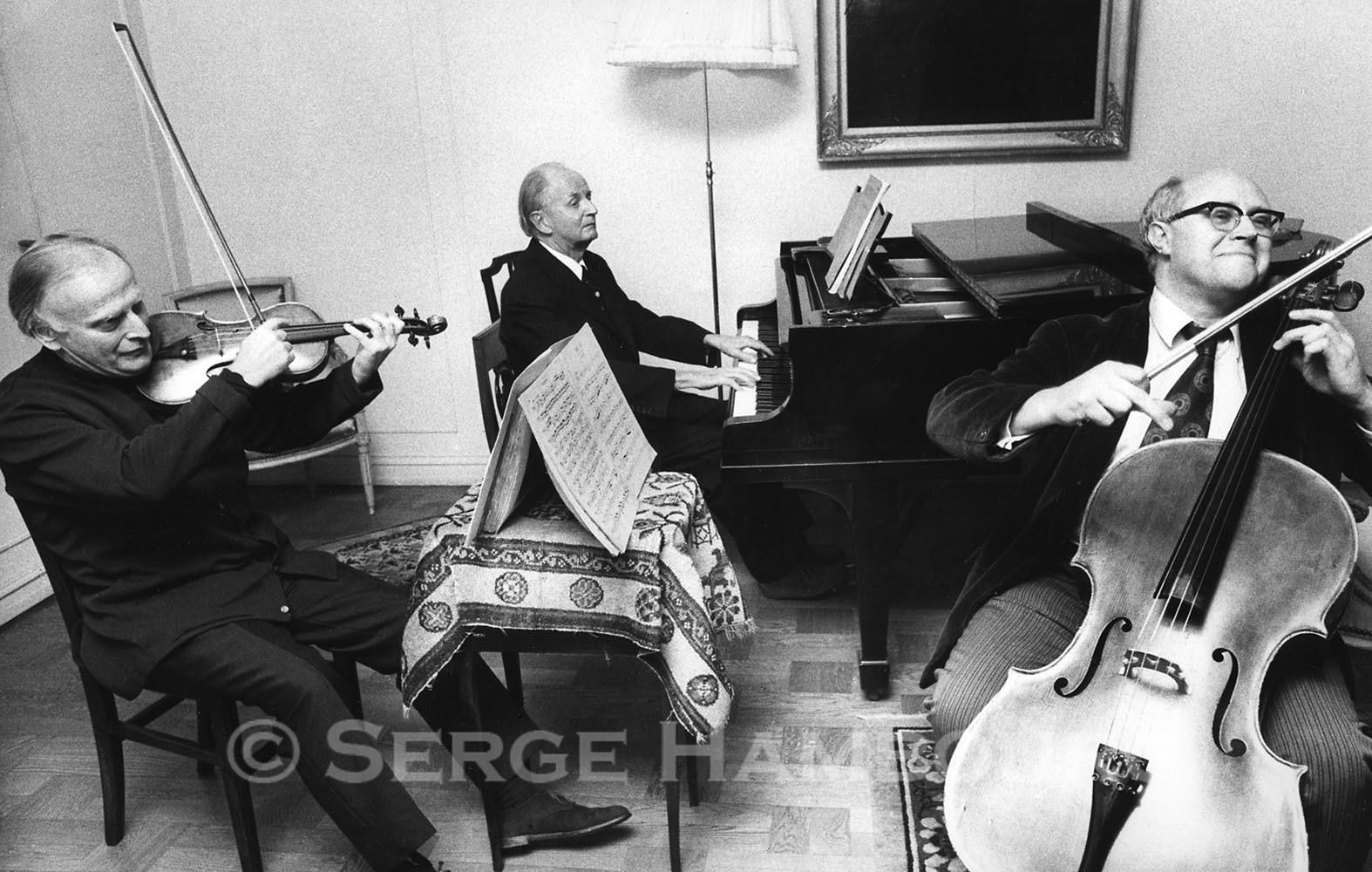 Yehudi MENUHIN, Wilhelm KEMPFF et Mstislav ROSTROPOVITCH 1974